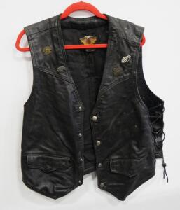Harley Davidson Leather Vest With Harley And Nexus Patches