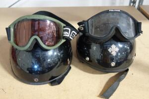 Motorcycle Helmets Includes Fulmer Size Unknown And Unknown Brand Size XS, And Scott And Polaris Goggles