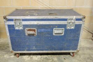 "Roadie Style Two Compartment Storage Trunk With Twist Locks,26"" High x 47.5"" Wide x 25.5"" Deep, Lid Detached, On Wheels"
