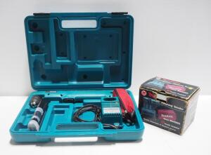 Makita Cordless Angled Driver Model DA391D With Extra Battery And Charger In Hard Case And Makita Finishing Sander Model B04550, Powers On, In Box