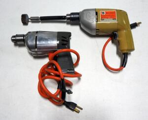 "Black & Decker 3/8"" Corded Drill Model 7104, Powers On, And Unmarked Corded Drill That Only Works In Reverse"