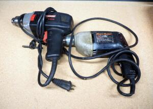 "Craftsman Corded 1/2"" Hammer Drill And Black & Decker Corded 3/8"" Drill, Both Power On"