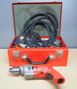 "Milwaukee 1/2"" Magnum Holeshooters, Qty 2, One With Tu-Speed Right Angle Drive, Handle, Bits, And More, In Metal Case"