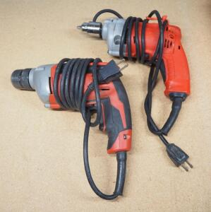 "Milwaukee 3/8"" Corded Drill And Milwaukee 3/8"" Magnum Holeshooter, Both Power On"