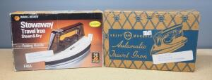 Black & Decker Stowaway Travel Iron Model F46A And Knapp Monarch Automatic Travel Iron Model 17-505, Both Power On, Both In Boxes