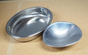 "Santa Fe Metal Dish 2"" High x 6"" Wide x 5"" Deep And Oval Bowl 1.75"" High x 9"" Wide x 6.75"" Deep"