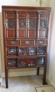 "Antique Oriental Storage Hutch W/ Dovetail Construction, Accent Carving, & Brass Hardware, 72"" x 39.5"" x 20.5"", Contents Not Included, Click For Details..."