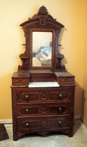 "Antique Solid Wood 5-Drawer Chest Of Drawers With Tilt Mirror And Marble Vanity Top, 84"" x 39.5"" x 18"", Missing Some Handles"