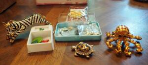 Bejeweled Animal Pins, Gold Charms, And More