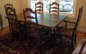 "Drexel Mid Century Solid Wood Dining Table 29"" x 70"" x 42"", Includes 20"" Leaves QTY 2, 6 Chairs With Thatch Seats And Table Pads"