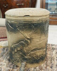 "Antique Stag And Deer Stoneware Water Cooler Crock With Pine Cone Motif Lid, 15"" x 12"" Round, Lid Has Crack And Minor Damage"