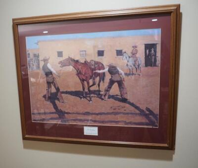 "Framed Matted Under Glass Lithograph Print ""His First Lesson"" By Frederic Remington, Numbered 1271, 29"" x 35"""