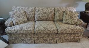 "Masterfield Furniture Upholstered Sofa With Throw Pillows, 33"" x 86"" x 40"""