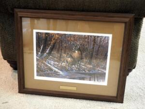 "Framed Matted Under Glass 1987 ""Fall-Whitetail Deer"" By Michael Sieve, Includes Certificate Of Authenticity, 21.5"" x 26"""