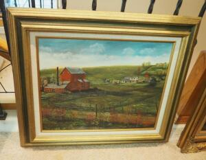 "Framed Oil On Canvas Farm Scene By Wendell Langum, 24"" x 27.5"""