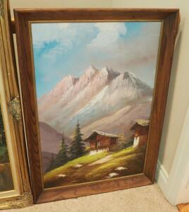 "Framed Oil And Acrylic On Canvas Mountain Scene, Signed By Artist, 40.5"" x 28"""