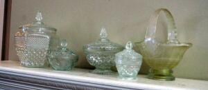 Crystal And Cut Glass Lidded Candy Dishes And Glass Basket, 5 Pieces Total