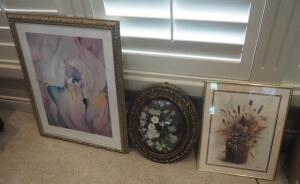 Framed Under Glass Floral Prints Qty 2, And Convex Glass Frame With Artificial Floral Arrangement