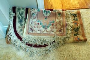 Antique Woven Area Rugs With Fringe, Qty 3, Various Sizes