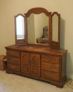 "Sumter Cabinet Company Solid Wood 9-Drawer Dresser With Hinged Beveled Glass Dressing Mirror, 78"" x 70"" x 19"""