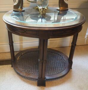 "Oval Solid Wood Accent Table With Beveled Glass Top And Cane Shelf, 23"" x 27"" x 22"", Contents Not Included"