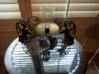 Brass Antelope Bookends, Glass Sphere On Elephant Stand, And Brass Hurricane Candle Lamp