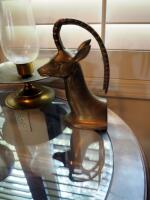 Brass Antelope Bookends, Glass Sphere On Elephant Stand, And Brass Hurricane Candle Lamp - 5