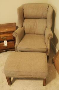 "Upholstered Wing-back Arm Chair With Matching Ottoman, Chair: 40"" x 32"" x 32"", Minor Damage To Seat Cushion"