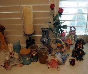 Glass Vases, Candle Assortment, Ceramic Animals, And More