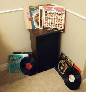 "Akai Speaker 26"" x 13"" x 10.5"" And Vintage Record Assortment"