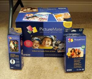 Epson Picture Mate Personal Photo Lab In Original Box, Includes Rechargeable Battery And Print Pack