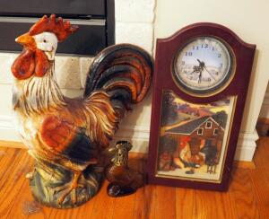 "21"" Painted Ceramic Rooster, Arister Battery Operated Chicken Wall Clock, And Glass Avon Rooster Cologne Bottle"