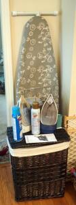 Rowenta Electric Irons QTY 2, Wicker Hamper, And Folding Ironing Board