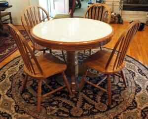 "Ashley Furniture Round Pedestal Dinette Table With Tile Top 30"" x 42"" Round And 4 Matching Slat Back Chairs With Turned Legs"