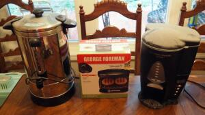 Nesco 30 Cup Electric Beverage Dispenser, George Forman 2 Serving Grill, And Hamilton Beach Brew Station