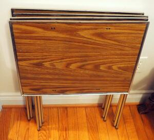Vintage Folding TV Tray Stands QTY 4