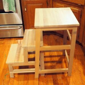 "Solid Wood Pull Out 2 Step Step Stool 28"" x 17.5"" x 16"""