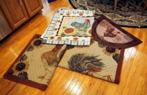 Woven And Rubber Backed Kitchen Chicken Rugs Assorted Sizes QTY 4