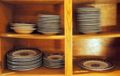 Meiwa Tahoe China Dinnerware Including Plates, Saucers, And Bowls, Contents Of 2 Shelves