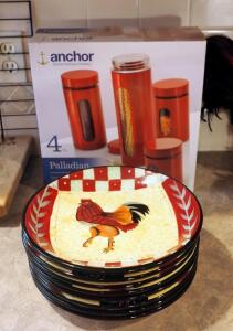 Anchor Hocking Palladian 4 Piece Canister Set, New In Box, And Ladolce Vita Tuscan Rooster Plates QTY 8
