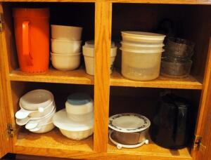 Pfaltzgraff And Corning Ware Soup Bowls, Food Storage Containers, Insulated Carafe, And More, Contents Of Two Cabinets