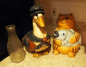 CKA Ceramic Cat With Fish Cookie Jar, Ceramic Mother Goose Cookie Jar, And Antique Glass Milk Bottle