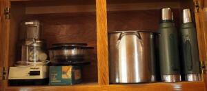 Cuisinart Electric Food Processor, Universal Meat Chopper, Insulated Stanley Thermos, And More, Contents Of 2 Cabinets