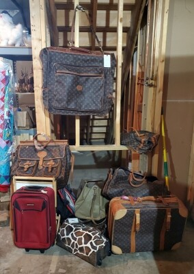 Luggage Assortment Including Imitation Louis Vuitton Set, Duffel, Backpacks, And More QTY 13