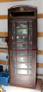 "Antique Wood Beveled Glass Lighted Phone Booth, With Original Signage, Vintage Coin Operated Phone & Antique Wood Box Phone, 87"" x 30"" x 30"", Needs..."