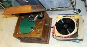 "His Master's Voice Antique Gramophone (Cabinet Measures 13"" x 18.5"" x 16"") And Vintage Record Assortment"