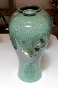 "Korean Celadon Pottery Glazed Vase, 17"" Tall, Mouth Measures 2.5"", 8.5"" Round, Matches Lot 14, See Lots 201 And 202 For Additional Celadon Pottery"