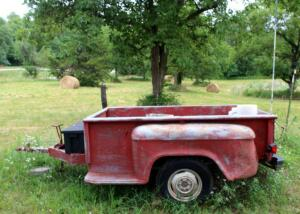 "GMC Truck Bed Trailer, 103"" x 6', Firewood Included"