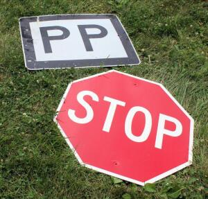 "Metal Road Signs Qty 2, ""Stop"" And Hwy ""PP"""