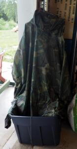 Military Rain Gear Including Woodland Pattern Ponchos, Liners, And Jackets, Contents Of Tote